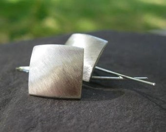 Satin Squares Sterling Silver Earrings . with bent-post earwires . simpl square earrings . simple silver earrings . made to order