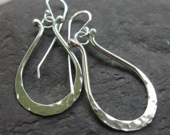 hammered hoop earrings in sterling silver . (( Lotus Hoops )) . basic silver earrings . unique hoop earrings . made to order
