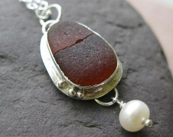 sterling silver and genuine brown seaglass necklace . (( You Complete Me )) . one of a kind . REDUCED & READY 2 SHIP