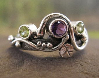 unique multi-stone ring . sterling silver with natural amethyst and peridot . (( Secret Garden Ring )) . made to order in your size