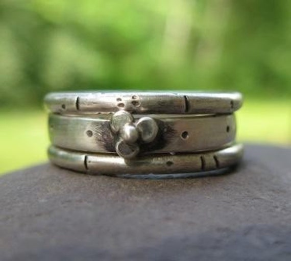 set of three sterling silver stackable rings . ((Wildflower Stacking Rings)) . oxidized textured bands . customize with hidden message