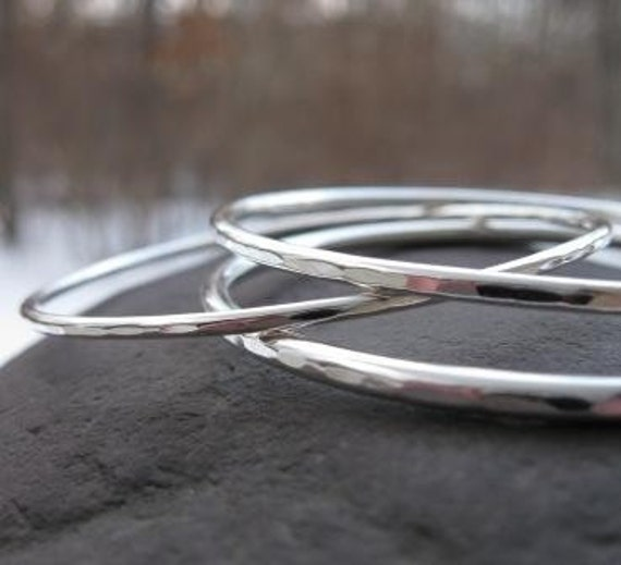Hammered Sterling Silver Weesa Bangles . set of 3 bangles with hammered edges in varied thicknesses . READY TO SHIP in 2 1/2 inch diameter