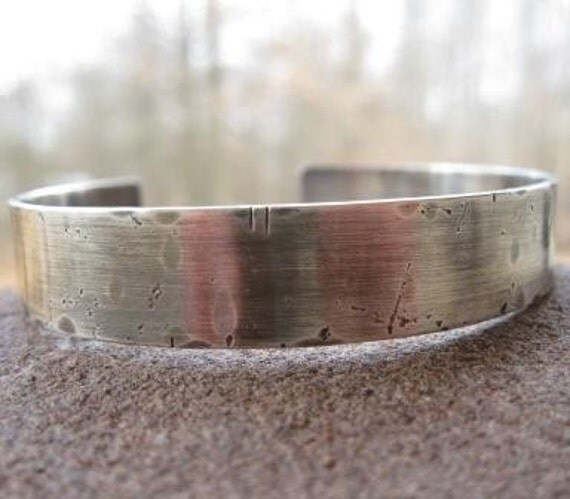 Customized Cuff . FOR YOUR MAN . sterling silver . rustic weather-worn finish . customize with your words