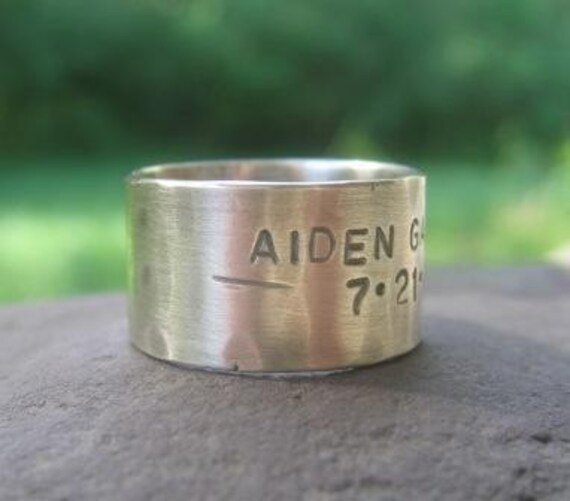RESERVED for SappyAppleShop . Rustic Silver Band . sterling silver with weather-worn finish . 5mm font outside inscription . finger size 7