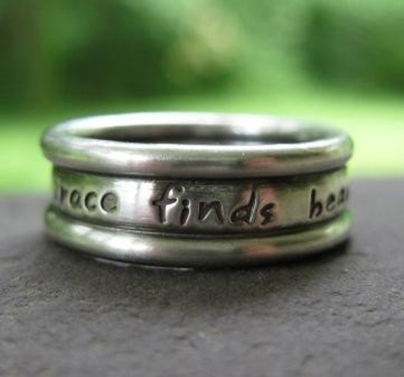 custom inscribed triple band ring in sterling silver . (( Embraced )) . inspiration ring . scripture ring . silver wedding band . thick band