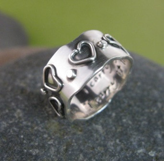 hearts and dots sterling silver wide band . (( I Carry Your Heart )) . inscribed poetry on the inside . made to order