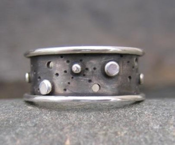 Starscape Ring . sterling silver . for him or her . order in whole, half or quarter sizes