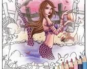Digital Stamp - Printable Coloring Page - Fantasy Art - Mermaid Stamp - Kiandra - by Nikki Burnette - PERSONAL USE