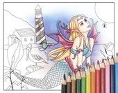 Digital Stamp - Printable Coloring Page - Fantasy Art - Mermaid Stamp - Gwynth - by Nikki Burnette - PERSONAL USE
