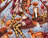 Fairy Art Print - 8 x 10 Fox Fairy Fantasy Art Print - Cheyanna - by Nikki Burnette