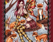 Autumn Fairy Sticker - Fantasy Art - Fall Leaves Fox Faery - Cheyanna - by Nikki Burnette