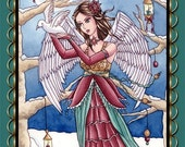 Christmas Angel Sticker - Fantasy Art - Winter Snow Holiday Fairy - Neva - by Nikki Burnette