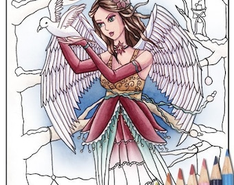 Digital Stamp - Printable Coloring Page - Fantasy Art - Angel Stamp - Neva - by Nikki Burnette - PERSONAL USE