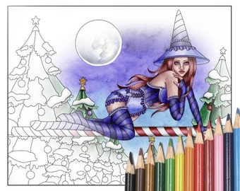Digital Stamp - Printable Coloring Page - Fantasy Art - Witch Stamp - Belle Version 2 - by Nikki Burnette - PERSONAL USE