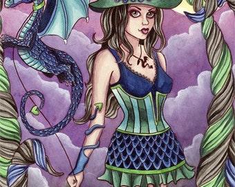 Dragon Witch Print - Fantasy Art - 5x7 - Halloween Moon Gothic Fairy - Chandra - by Nikki Burnette