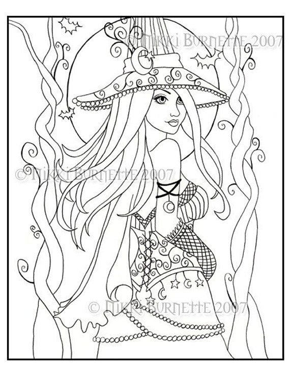 Cassia - Coloring Page Kit with ACEO Print - Fantasy - Witch - Wiccan