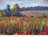 Corn in Late Summer, original pastel painting, 20x14