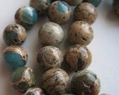 6mm Round Aqua Terra Jasper Beads - Full Strand