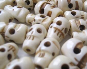 Ten (10) Skull Beads (Animal Bone)
