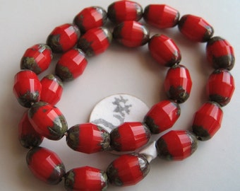7mm Bullet-Shaped, Red Faceted Czech Glass Beads