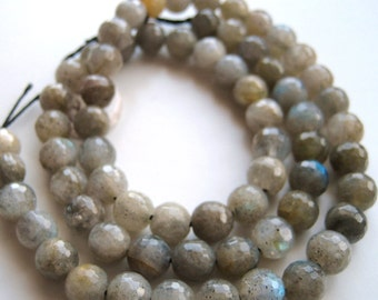 6mm Round, Faceted Labradorite Beads - Full Strand
