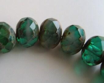 6mm Green Czech Glass Rondelles