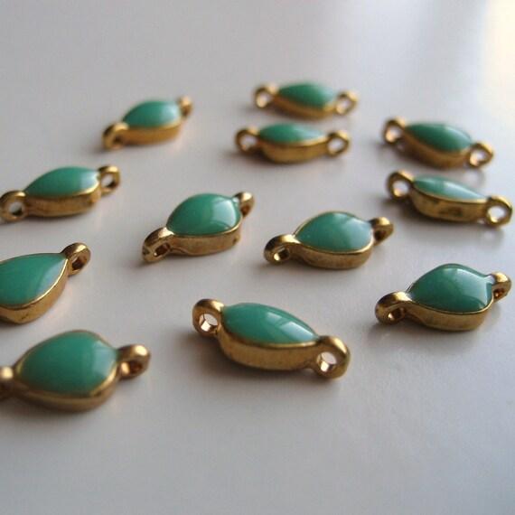 Antique Gold Connectors with Turquoise Enamel