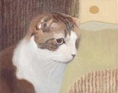 ORIGINAL Cat and Landscape Painting by KAZUMI 10x8