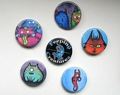 Feeping Creatures monster buttons - set of 6
