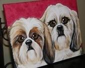 CUSTOM Pet Painting Portrait two pets 16x20 handpainted