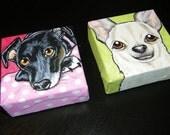 Set of Two Custom Pet Portrait Paintings 4x4 s