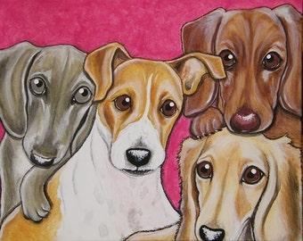 Multiple Pet Portrait Painting 16x20 handpainted, pet memorial