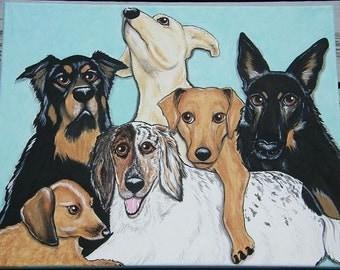 Custom 16x20 Hand Painted Pet Portrait Painting on Canvas