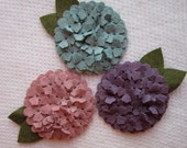 Three Inch Wool Felt Hydrangeas