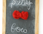 small knit bow- deep red