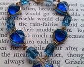 Blue Cloisonne heart bracelet with acrylic charms