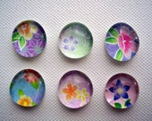 Set of Six Yuzen Chiyogami Washi Paper Flower Glass Pebble Magnets / Made to order / Cute Magnets / Fridge Magnets / Kitchen Magnets