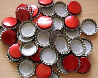 50 red Bottle Caps with seals