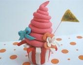 Miniature Carnival Cupcake Sculpture