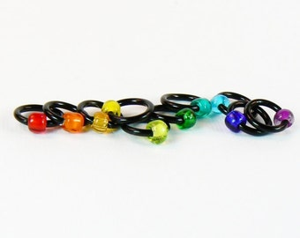 Dark Side of the Rainbow (US6) - Eterne Stitch Markers (snagfree)