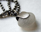 Seaglass Necklace Sterling Silver Beach Glass Time Heals All