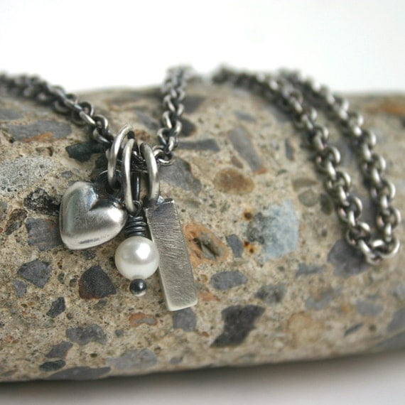 Charm Necklace Personalized Customizable Heart Pearl Tag  - So Charming