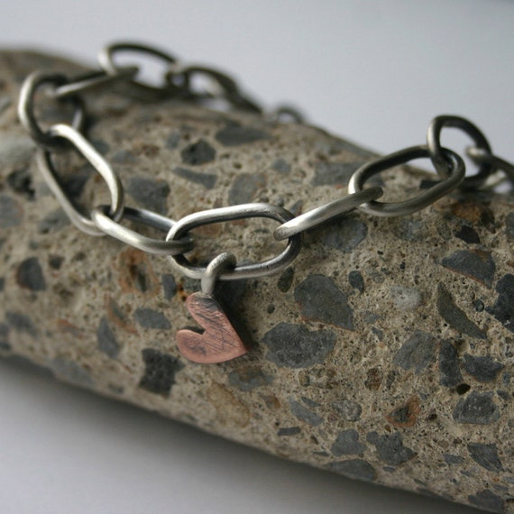Handmade Sterling Silver Chain Heart Tag Bracelet - Unchain My Heart