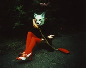 another wolf, 8x10 archival print photograph of girl in animal mask and vintage shoes and sequined skirt
