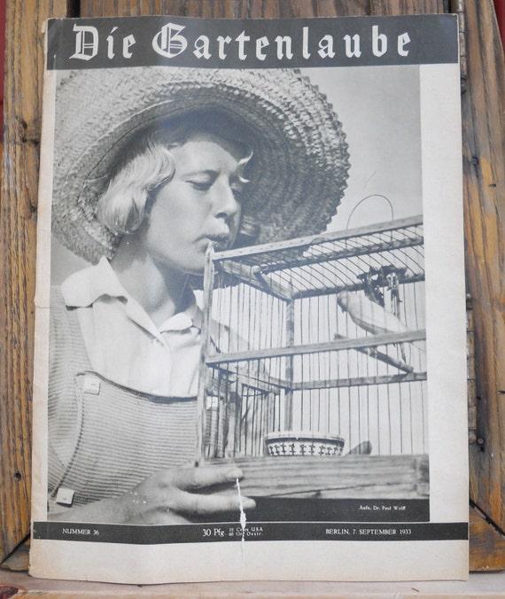 antique 1933 German magazine   Die Gartenlaube