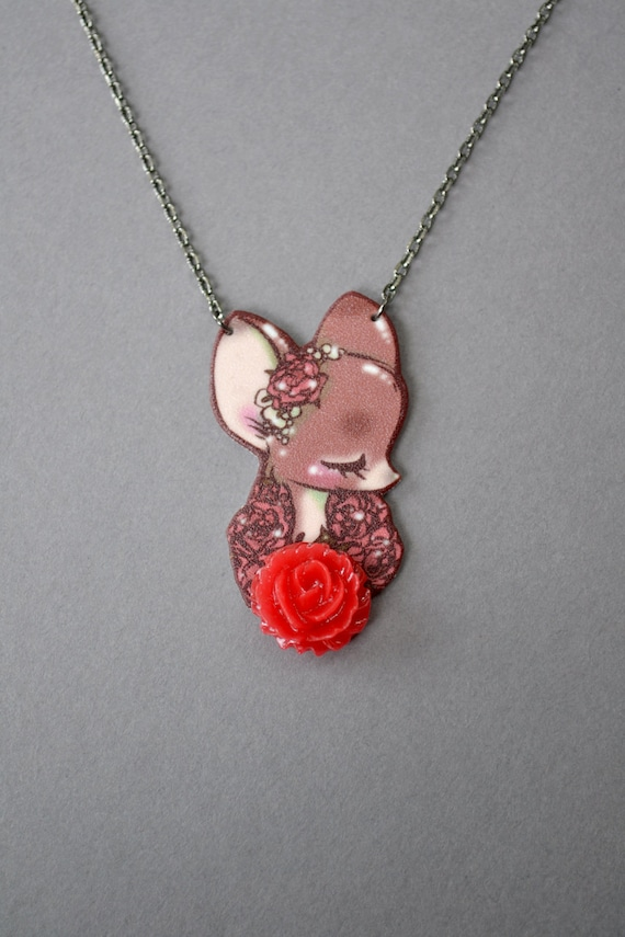 LAST ONE - Limited Necklace - Deer with Red Rose
