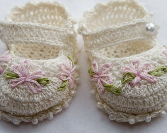 Cheryl's Crochet CC50-Fancy Crochet Mary Jane Baby Booties PDF Pattern