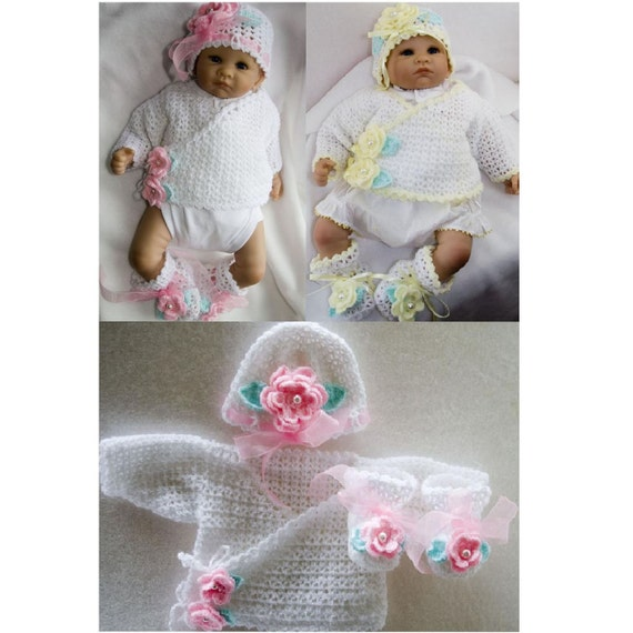 Cheryls Crochet CC39-Lacey Sweater Outfit for New Born Baby Pattern