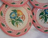 4 Vintage Colorful Pink Toy Tin Plates with Morning Glory's