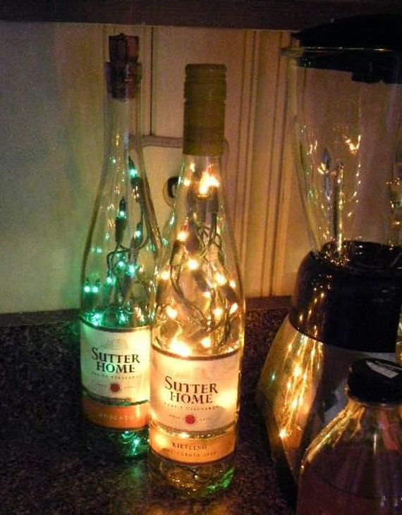 Lighted Wine Bottles Sutters Home Moscato and by VintageShop